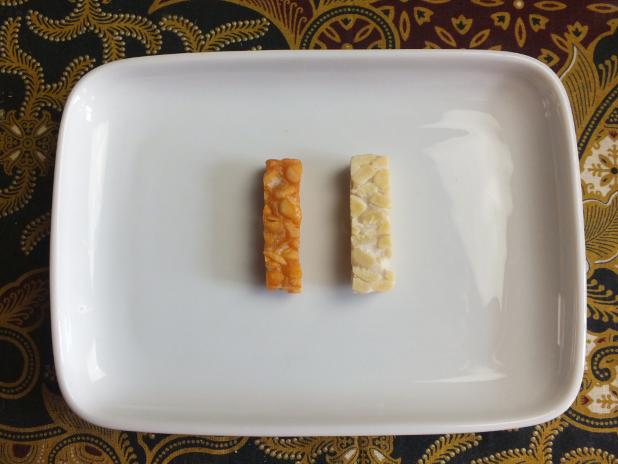 tempeh strips gefrituurd en rauw