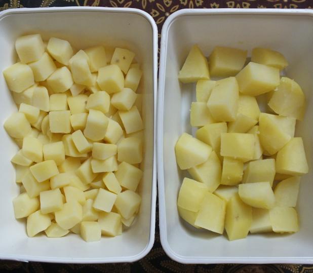 aardappelblokjes vd super en homemade