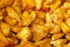 ayam dengan mangga (kip met mango)